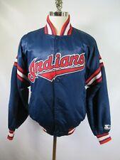 E5506 VTG 90s STARTER Cleveland Indians MLB Baseball Snap Satin Jacket Size M