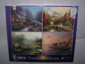 "Lot of 4 Thomas Kinkade 4 Seasons NEW 500 Piece Puzzles 18"" x 14""  Plus A Poster"