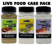 Reptile World Live Food Care Pack - Bug Grub, Bug Gel, Calcium Powder