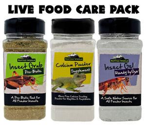 Reptile World Live Food Care Pack - Bug Grub, Bug Gel, Calcium Powder