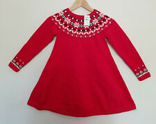 Hanna Andersson Red Sno Happy Fair Isle Cotton Sweater Dress 140 10