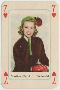 Martine Carol vintage 1950s Maple Leaf Playing Card of Film Star