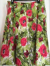 Talbots Women's 10 Cotton Skirt Floral Butterflies Pleated Green Rose Black