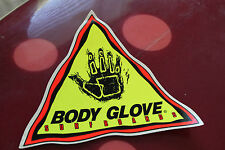 Original Vintage 80's neon BODY GLOVE WETSUIT VINYL HUGE 8x8in surf STICKER