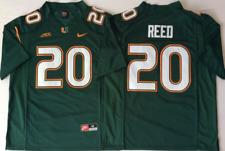 NEW Mens Miami Hurricanes Green #20 REED Football Jersey