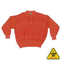 KENZO HOMME Mens Long Sleeve Polo Shirt Red-Orange size Small (blemish) - 464