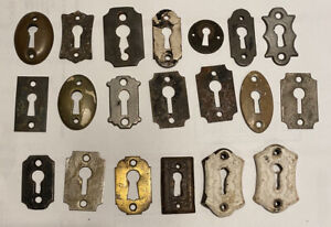 20 Antique Keyhole Escutcheons Skeleton Gothic Hardware Steel antique cast iron