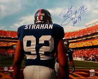 Michael Strahan Autographed 16x20 NY Giants From Behind Photo- JSA W HOF INSC