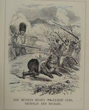 "7x10"" punch cartoon 1854 THE RUSSIAN BEARS UN-LICKED CUBS , NICHOLAS & MICHAEL"