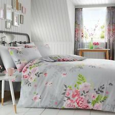 ALICE FLORAL DOUBLE DUVET COVER SET FLOWERS LEAVES PINK AND GREY KIDS ADULTS
