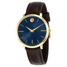 Movado Ultra Slim Blue Sunray Dial Ladies Watch 0607092