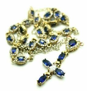 Pear Oval Sapphire/Garnet Diamond Necklace Cross Pendant 14K Yellow Gold Finish