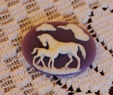 Vintage Cameo~Horses Button~Molded Resin~30X40mm~White/Purple~ For >^..^< Rescue