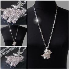 Lange Halskette Kette Silber Gold mit Anhänger Strass Zirkonia ModeSchmuck KV5*