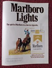 1977 Print Ad Marlboro Man Lights Cigarettes ~ Western Cowboy Lasso Wild Horse