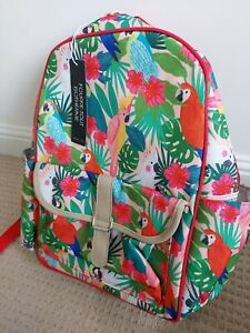 Insulated Picnic Backpack Rucksack Tropical Birds Parrots Bottle Opener NWT
