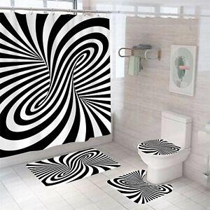 Optical illusion Bathroom Rug Set Shower Curtain Thick Toilet Lid Cover Bath Mat
