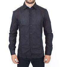 Nuevo con Etiqueta Ermanno Scervino Negro Ajustado Algodón Informal Camisa Top