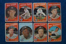 Lot of 8 1959 Topps New York Yankees Baseball Cards