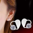 Heart Women 925 Sterling Silver Hollow CZ Crystal Stud Earrings Ear Studs Gifts