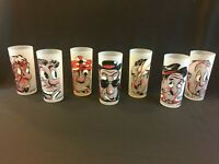 Comic-Faced High Ball Drinking Glasses/ red, black, white comical faces