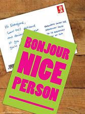 Brainbox Candy 'Bonjour Nice Person' Postcard Funny Comedy Humour Novelty Joke