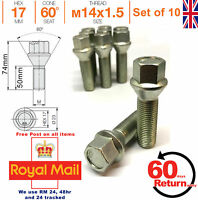 Car Alloy Wheel bolts M14x1.5 50mm extended Thread taper for Peugeot Set of 10