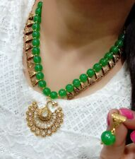 Green Pearl Beads For Women Peacock Pendant Necklace & Earrings Set