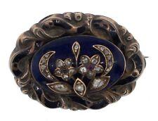 AMAZING Georgian 14k WG, Silver, Rose Cut Diamond & Enamel Brooch Circa 1850!