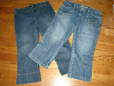 LOT of 2 Womens AMERICAN EAGLE & THE LIMITED CAPRIS JEANS Size 6-8