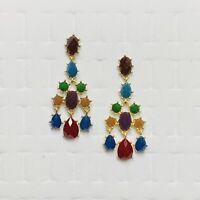 "Rhinestone Statement Earrings Chandelier Art Nouveau Multi Color Gold Tone 2.5"""