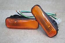 96-00 Honda Civic EK EM JDM Black Trim Amber Dome Side Marker +Pig Tail + Bulbs