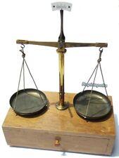 Portable Antique German 100 g Brass Balance Beam Scale in Wooden Case w. Drawer