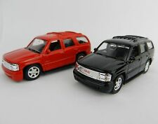 1:64 WELLY = 2001 GMC Yukon DENALI *SET OF 2* RED & BLACK *DIECAST* NEW!
