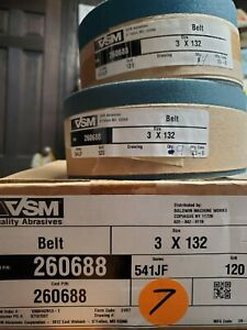 "VSM / Starcke Abrasives - 3"" x 132"" Sanding Belts 541JF A/O 120 Grit, Lot of 128"
