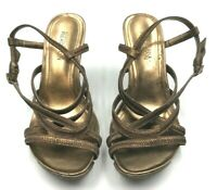 Kenneth Cole Reaction Woman's Sandals Bronze Leather Strappy Wedge Size 5 1/2