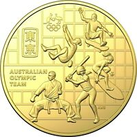2020 AUSTRALIAN OLYMPIC TEAM ROUND 50c CENTS CuNi GOLD PLATED UNC