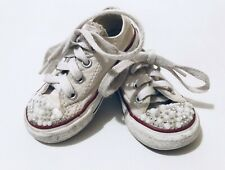 2fb809fc47e7a Converse All Star Infants Girls White Trainers Canvas Shoes Size 5 EUR 21  Beads