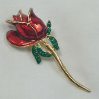 Enamel Red Rose Gold Tone Green Rhinestone Leaves Vintage Brooch Pin