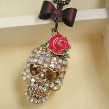 Rose Bow Skull Necklace Long Sweater Chain Metal Jewelry Pendant for Gifts^