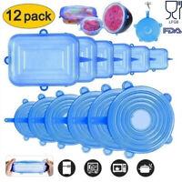 12pcs Silicone Stretch Reusable Bowl Food Storage Wraps Cover Seal Fresh Lids