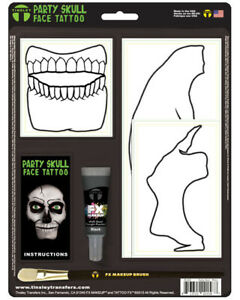 White Skeleton Party Skull Face Tattoo Costume Accessory