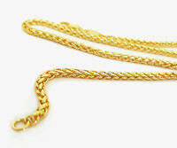 Source 18 inch 18ct Gold Braided Wheat Chain Necklace 2mm thick