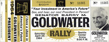$100 VIP 1964 Seattle Barry GOLDWATER RALLY Ticket & Member Card (4155)
