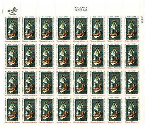 Scott 1386 – 1969 6c William M. Harnett Full Sheet of 32 M OG NH