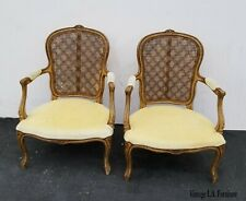 Pair of Vintage French Country Provincial Yellow Down Accent Chairs As-Is