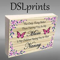 """Personalised Photo Block Wooden 6x4"""" or 7x5"""" Picture Frame Mum Nanny Home Decor"""