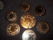 vintage silver engraved holiday wreath/ bow coasters 6 in set/holder Christmas