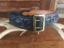 Vintage Tex Shoemaker Black Floral Carved Leather Police 225 Duty Belt Size 34