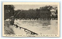 Postcard 1935 Flood - Bridge near Campbell over Chemung River, NY G38